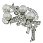 Pearl ujërave të ëmbla karficë, Pearl kulturuar ujërave të ëmbla, with Tunxh, Lule, e bardhë, 54x29.50x17mm,  PC