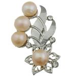 Pearl ujërave të ëmbla karficë, Pearl kulturuar ujërave të ëmbla, with Tunxh, Lule, rozë, 50.50x33x15mm,  PC
