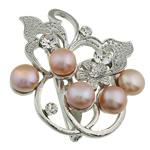 Pearl ujërave të ëmbla karficë, Pearl kulturuar ujërave të ëmbla, with Tunxh, Lule, rozë, 49.50x46x17mm,  PC