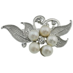 Pearl ujërave të ëmbla karficë, Pearl kulturuar ujërave të ëmbla, with Tunxh, Lule, e bardhë, 58.50x36x20mm,  PC