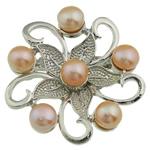 Pearl ujërave të ëmbla karficë, Pearl kulturuar ujërave të ëmbla, with Tunxh, Lule, rozë, 45x15mm,  PC