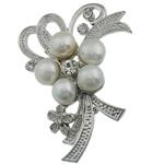 Pearl ujërave të ëmbla karficë, Pearl kulturuar ujërave të ëmbla, with Tunxh, Lule, e bardhë, 55x39.50x17mm,  PC