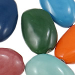 Beads xham porcelani, Round Flat, xham, ngjyra të përziera, 24.50x39x14mm, : 3mm, 40PC/Qese,  Qese