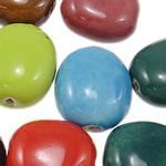 Beads xham porcelani, Oval, xham, ngjyra të përziera, 17.50x22.50x11mm, : 2.5mm, 60PC/Qese,  Qese