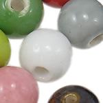 Beads xham porcelani, Round, xham, ngjyra të përziera, 13.5-14.5mm, : 2.5mm, 100PC/Qese,  Qese