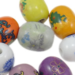 Beads xham porcelani, Daulle, xham, ngjyra të përziera, 14x17.50mm, : 3.5mm, 80PC/Qese,  Qese