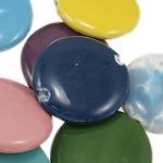 Beads xham porcelani, Monedhë, xham, ngjyra të përziera, 33x7.50mm, : 2-3mm, 50PC/Qese,  Qese