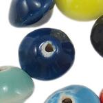 Beads xham porcelani, Rondelle, xham, ngjyra të përziera, 13x8.50mm, : 2.5mm, 315PC/Qese,  Qese