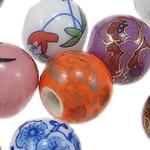 Beads xham porcelani, Daulle, xham, ngjyra të përziera, 12-14mm, : 3.5mm, 95PC/Qese,  Qese