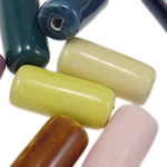Beads xham porcelani, Tub, xham, ngjyra të përziera, 12x25.50mm, : 2.5mm, 100PC/Qese,  Qese