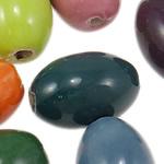 Beads xham porcelani, Oval, xham, ngjyra të përziera, 12x18mm, : 2.8mm, 95PC/Qese,  Qese