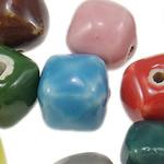 Beads xham porcelani, Katror, xham, ngjyra të përziera, 11.50x10mm, : 2mm, 200PC/Qese,  Qese