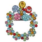 Karficë zbukurimi diamant i rremë, Lule, me diamant i rremë, ngjyra të përziera, 30.50x36.50x3.50mm, : 3x6.5mm, 10PC/Qese,  Qese