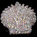 Tunxh, Predhë, Ngjyra argjend praruar, me diamant i rremë, asnjë, , nikel çojë \x26amp; kadmium falas, 48x50x16.80mm, : 4x6.5mm, 5PC/Qese,  Qese