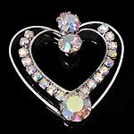 Pendants tunxh, Zemër, ngjyrë platin praruar, me diamant i rremë, asnjë, , nikel çojë \x26amp; kadmium falas, 32x32.50x7mm, : 2mm, 30PC/Qese,  Qese