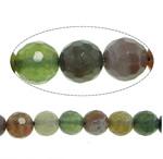 Natürliche Indian Achat Perlen, Indischer Achat, rund, facettierte, 6mm, Bohrung:ca. 1mm, Länge:ca. 15 ZollInch, 10SträngeStrang/Menge, ca. 61PCs/Strang, verkauft von Menge