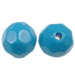 Volltonfarbe Acryl Perlen, rund, blau, 10mm, Bohrung:ca. 2mm, 1000PCs/Tasche, verkauft von Tasche