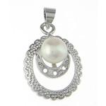 Pendants Pearl ujërave të ëmbla, Pearl kulturuar ujërave të ëmbla, natyror, e bardhë, 15.50x20.50x7.70mm, : 4x4.3mm, 20PC/Qese,  Qese