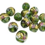Gold petë Beads Lampwork, Rondelle, petë ari, 15x13mm, : 3mm, 100PC/Qese,  Qese