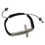 Tunxh Shamballa Bracelets, with Cord Wax & Jo-magnetike kuqe e mbylltë, Shape Tjera, me diamant i rremë, e zezë, , nikel çojë \x26amp; kadmium falas, 28x49.50x3.50mm, :7.5Inç,  7.5Inç,