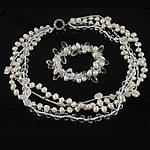 Sets bizhuteri kristal, with Seed Glass Beads, e bardhë, 7-10mm, :15.5Inç,  7.5Inç,  I vendosur