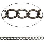 Twist Hekuri Oval Zinxhiri, plumbit ngjyrë të zezë praruar, asnjë, , nikel çojë \x26amp; kadmium falas, 7.40x5.20x1.20mm, :50m,  PC