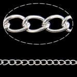 Twist Hekuri Oval Zinxhiri, Ngjyra argjend praruar, asnjë, , nikel çojë \x26amp; kadmium falas, 6.80x4.50x1mm, :50m,  PC