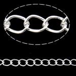 Twist Hekuri Oval Zinxhiri, Ngjyra argjend praruar, asnjë, , nikel çojë \x26amp; kadmium falas, 4x5.50x0.70mm, :100m,  PC