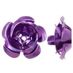 Beads bizhuteri alumini, Lule, pikturë, vjollcë, 15x8.50x15.50mm, : 1.5mm, 950PC/Qese,  Qese