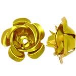 Beads bizhuteri alumini, Lule, pikturë, ar, 15x15x9mm, : 1.5mm, 950PC/Qese,  Qese