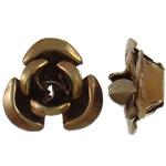 Beads bizhuteri alumini, Lule, pikturë, ngjyrë kafe, 6x7x4mm, : 1mm, 950PC/Qese,  Qese