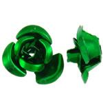 Beads bizhuteri alumini, Lule, pikturë, e gjelbër, 8x8.50x5mm, : 1.1mm, 950PC/Qese,  Qese