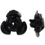 Beads bizhuteri alumini, Lule, pikturë, e zezë, 8x8.50x5mm, : 1.1mm, 950PC/Qese,  Qese