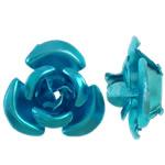 Aluminium-Lackschnitzerei, Aluminium, Blume, Spritzlackierung, blau, 12x11.50x6mm, Bohrung:ca. 1.3mm, 950PCs/Tasche, verkauft von Tasche