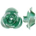 Aluminium-Lackschnitzerei, Aluminium, Blume, Spritzlackierung, grün, 12x11.50x6mm, Bohrung:ca. 1.3mm, 950PCs/Tasche, verkauft von Tasche