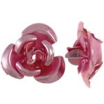 Beads bizhuteri alumini, Lule, pikturë, rozë, 12x11.50x6mm, : 1.3mm, 950PC/Qese,  Qese
