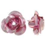 Beads bizhuteri alumini, Lule, pikturë, rozë, 6x7x4mm, : 1mm, 950PC/Qese,  Qese