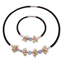 Natyrore kulturuar Pearl ujërave të ëmbla bizhuteri Sets, Pearl kulturuar ujërave të ëmbla, Round, natyror, rozë, 6-7mm, :17Inç,  8.5Inç,  I vendosur