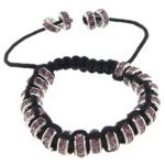 Tunxh Shamballa Bracelets, with Diamant i rremë & Tunxh, Shape Tjera, me diamant i rremë, e zezë, , nikel çojë \x26amp; kadmium falas, 4x8mm, :5-10Inç, 10Fillesat/Shumë,  Shumë