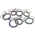 Tunxh Shamballa Bracelets, with Cord najlon & Diamant i rremë, Shape Tjera, me diamant i rremë, ngjyra të përziera, , nikel çojë \x26amp; kadmium falas, 4x8mm, :5-10Inç, 10Fillesat/Shumë,  Shumë