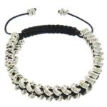 Tunxh Shamballa Bracelets, with Cord najlon & Diamant i rremë, Shape Tjera, me diamant i rremë, e zezë, , nikel çojë \x26amp; kadmium falas, 2x5mm, :6-10Inç, 10Fillesat/Shumë,  Shumë