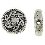 Beads aliazh zink Flat, Alloy zink, Monedhë, Ngjyra antike argjendi praruar, asnjë, , nikel çojë \x26amp; kadmium falas, 10x3mm, : 1mm, 830PC/KG,  KG