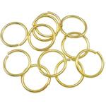 Iron Mbyllur Ring Jump, Hekur, Petull e ëmbël në formë gjevreku, ngjyrë ari praruar, asnjë, , nikel çojë \x26amp; kadmium falas, 0.90x9mm, : 7.5mm, 7690PC/Qese,  Qese