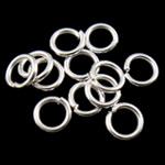 Iron Mbyllur Ring Jump, Hekur, Petull e ëmbël në formë gjevreku, Ngjyra argjend praruar, asnjë, , nikel çojë \x26amp; kadmium falas, 0.80x5mm, : 3.4mm, 19200PC/Qese,  Qese