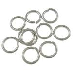 Iron Mbyllur Ring Jump, Hekur, Petull e ëmbël në formë gjevreku, ngjyrë platin praruar, asnjë, , nikel çojë \x26amp; kadmium falas, 1x7mm, : 5mm, 8770PC/Qese,  Qese