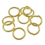 Iron Mbyllur Ring Jump, Hekur, Petull e ëmbël në formë gjevreku, ngjyrë ari praruar, asnjë, , nikel çojë \x26amp; kadmium falas, 1.20x9mm, : 6.5mm, 4760PC/Qese,  Qese