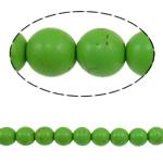 Bruz Beads, Bruz sintetike, Round, e gjelbër, 10mm, : 1.5mm, :15Inç, 40PC/Fije floku,  15Inç,