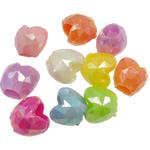AB-ngjyra akrilik Beads kromuar, Zemër, Ngjyra AB kromuar, ngjyra të forta, ngjyra të përziera, 13x14x11mm, : 6mm, 5KG/Shumë,  Shumë