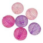 Beads transparente akrilik, Round, i tejdukshëm, ngjyra të përziera, 20mm, : 3.5mm, 5KG/Shumë,  Shumë