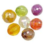 Beads transparente akrilik, Round, Ngjyra AB kromuar, i tejdukshëm, ngjyra të përziera, 12mm, : 5mm, 5KG/Shumë,  Shumë